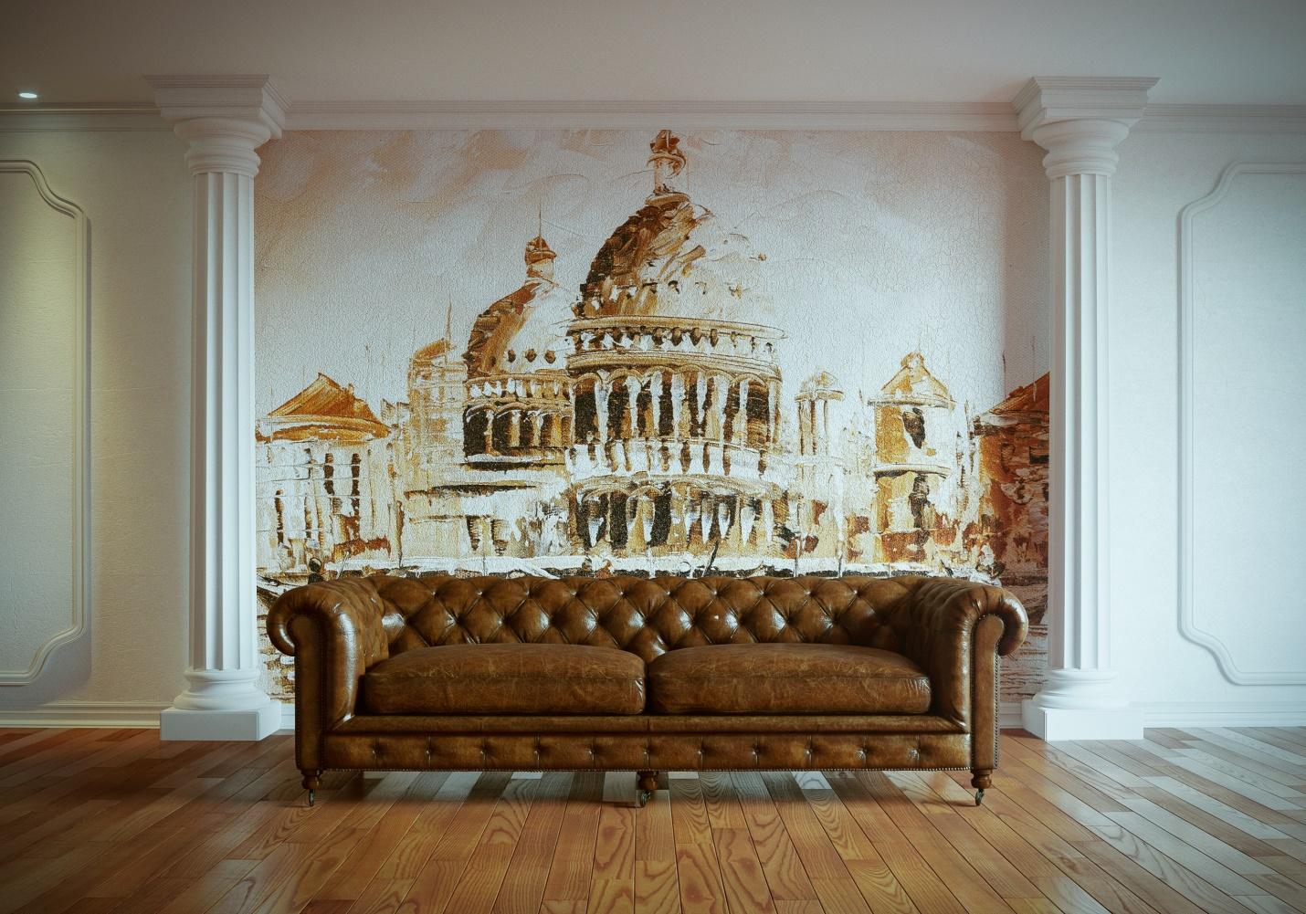 фреска в интерьере классика