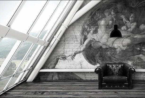фреска в интеьере современном
